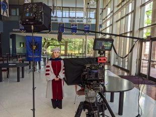 Fabiola López-Durán, associate professor of art history and Hanszen College magister, recorded her segments in the Hanszen Commons.