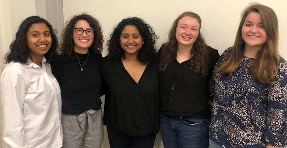 "Members of the award-winning ""At Your Cervix"" team, from left: Krithika Kumar, Elisa Arango, Sanika Rane, Susannah Dittmar and Lauren Payne."