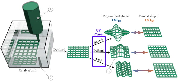 A graphic shows the process by which a Rice University lab uses 3D printing to make shapeshifting materials that may be useful to make soft robots or as biomedical implants. (Credit: Verduzco Laboratory/Rice University)