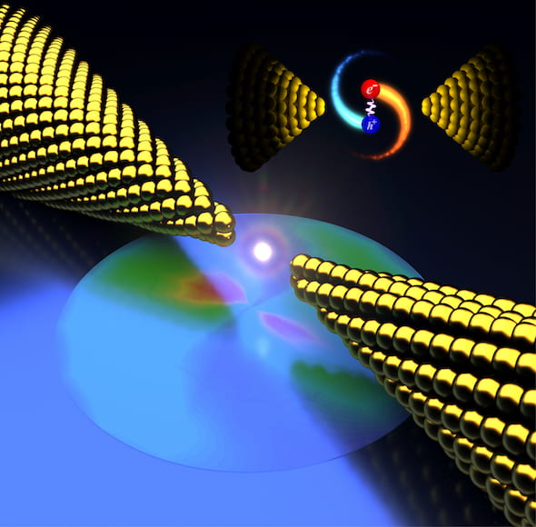 "Rice University physicists discover that plasmonic metals can be prompted to produce ""hot carriers"" that in turn emit unexpectedly bright light in nanoscale gaps between electrodes. The phenomenon could be useful for photocatalysis, quantum optics and optoelectronics. (Credit: Illustration by Longji Cui and Yunxuan Zhu/Rice University)"