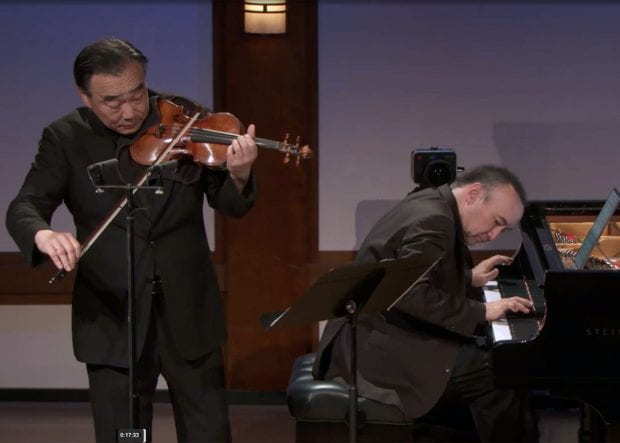 """Cho-Liang Lin, the Benjamin Armistead Shepherd Distinguished Professor of Violin at Rice's Shepherd School of Music, was recently featured in the Chamber Music Society of Lincoln Center's """"Artist Series,"""" a digital concert series comprised of live performance video from the CMS archive and interviews offering a personal look into artists' lives during the COVID-19 pandemic. Lin performed with the Shepherd School's Jon Kimura Parker, professor of piano (pictured below)."""