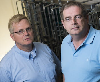 Rice University physicists Karl Ecklund, left, and Paul Padley have won $1.3 million in Department of Energy funding to pursue ongoing research at the Large Hadron Collider. (Credit: Jeff Fitlow/Rice University)