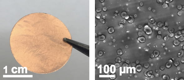 At left, a copper current collector with a laser-induced silicon oxide coating created at Rice University. At right, a scanning electron microscope image of the coating created by lasing adhesive tape on the copper collector. (Credit: Tour Group/Rice University)