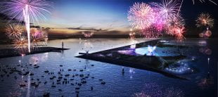 Artist's rendering of a nighttime celebration at Galveston Bay Park