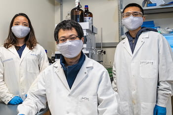From left, Rice University graduate student Shuyuan Yang and postdoctoral researchers Fanglong Zhao and Zhiwen Liu are using advanced gene-editing technology to help discover new drugs that stay one step ahead of diseases that are able to become resistant. (Credit: Jeff Fitlow/Rice University)