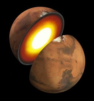 An artist's impression of Mars' inner structure.
