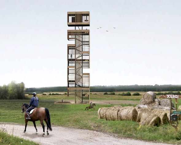 """The Rice students' winning design of the Kurgi Observation Tower features a porous facade and a """"vertical promenade."""""""