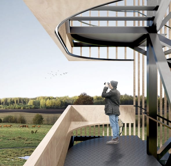 """The students' winning design is a """"vertical promenade"""" they say """"challenges the traditional recognition of floors."""" Courtesy of Beixi Zhu and Xi Luo"""