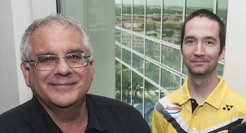 Peter Wolynes, left, and Nicholas Schafer. (Credit: Jeff Fitlow/Rice University)