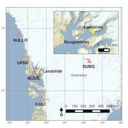 An overview by the U.S. Geological Survey shows the location of the Nuugaatsiaq landslide (yellow star) relative to five broadband seismic stations (pink triangles) within 500 km of the landslide. Nuugaatsiaq (NUUG) was impacted by the resulting tsunami the reached a height of 300 feet at sea, though it was much lower before it reached the village. The inset shows the geometry of the fjords relative to the landslide and Nuugaatsiaq. (Source: USGS)