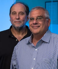 José Onuchic, left, and Peter Wolynes, co-directors of the Center for Theoretical Biological Physics at Rice University. (Credit: Jeff Fitlow/Rice University)