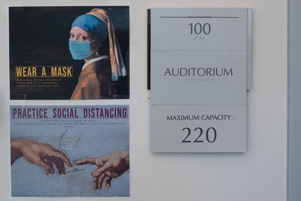 A clever new series of posters from the Department of Art History can be seen throughout Herring Hall. (Photos by Jeff Fitlow)