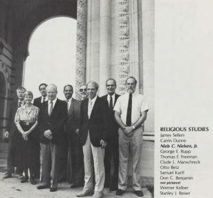 Rabbi Samuel Karff is seen here in a 1986 Campanile as a member of the Religious Studies department at Rice.