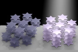 Atoms in the crystal lattice of tantalum disulfide arrange themselves into six-pointed stars that can be manipulated by light, according to Rice University researchers. The phenomenon can be used to control the material's refractive index. It could become useful for 3D displays, virtual reality and in lidar systems for self-driving vehicles. (Credit: Weijian Li/Rice University)