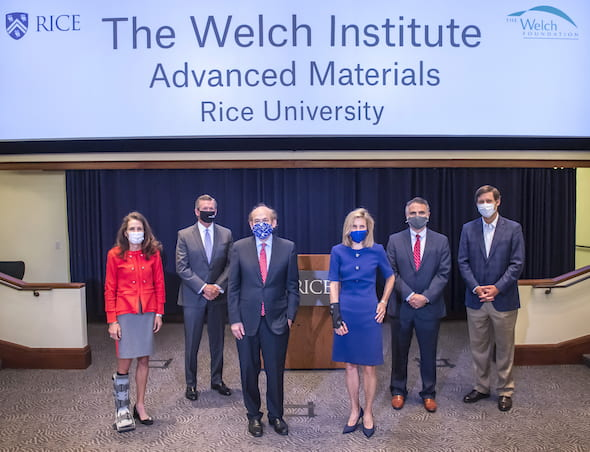 Rice hosted the announcement of a $100 million gift to the university to establish The Welch Institute for materials science. From left: Gina Luna, treasurer and director of The Welch Foundation board of directors; board member William McKeon; Rice President David Leebron; Carin Barth, chair and director of the Welch board; Welch Foundation President Adam Kuspa and board member Fred Brazelton. Photo by Tommy LaVergne