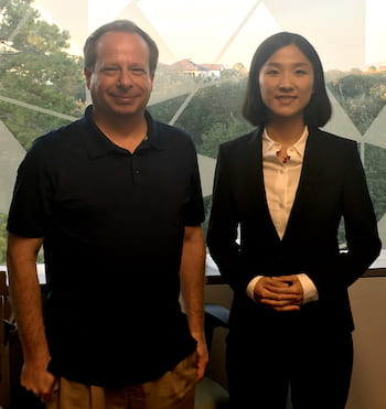 Rice University engineers Kevin Kelly and Yibo Xu lead the development of the Hyperspectral Stripe Projector, which combines the capture of spectroscopic data of an object with 3D imaging into a single system that uses a monochrome camera as the sensor instead of a hyperspectral camera. (Credit: Kelly Lab/Rice University)