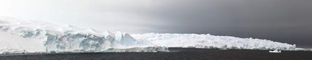 More than a mile of the seaward edge of Thwaites Glacier in February 2019