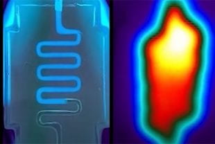 Fluorescent and infrared imaging of a heat distribution channel in a bulk hydrogel.