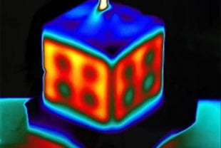 Infrared imaging showing heat distribution in a hydrogel tissue construct.