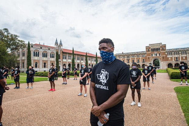 Rice football players marched from Rice Stadium to the Academic Quad Sept. 4 to protest racial injustice.