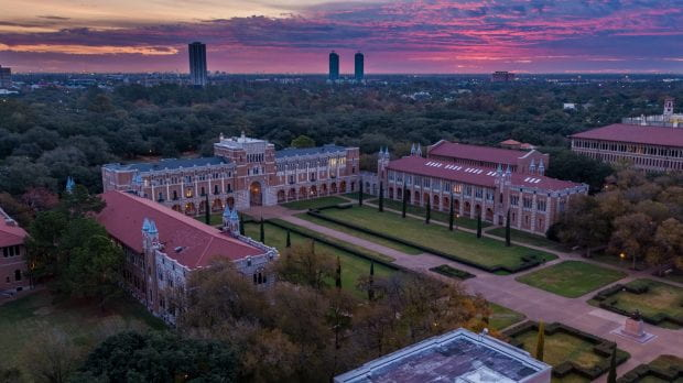 Academic Quad at sunrise aerial. Photo by Brandon Martin