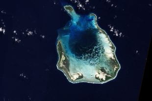 South Keeling Island, an atoll in the Indian Ocean's Cocos Islands, as seen from NASA's Earth Observing-1 satellite on July 31, 2009