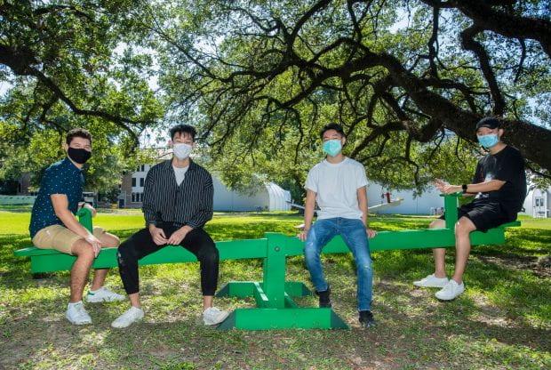 "The winning design team behind ""Twelve Feet Apart"": Duncan College sophomore Peyton Chiang, Baker College junior Joseph Hsu and Brown College sophomore Jeff Xia"
