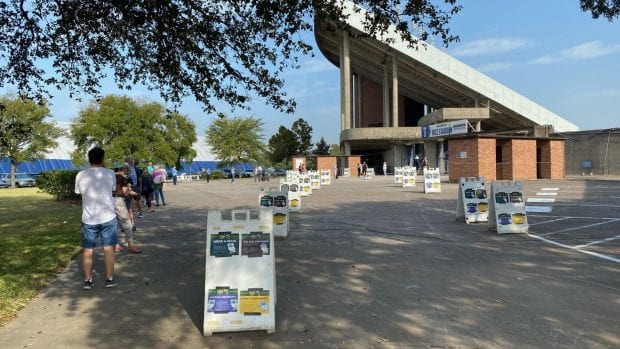 Rice Stadium is serving as a polling location for Harris County residents.