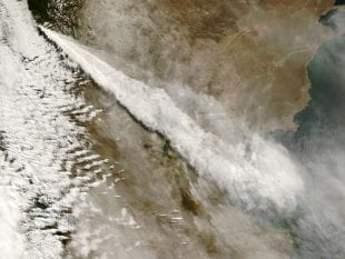 A NASA satellite image of a volcanic plume from Chile's Mount Chaitén rising over the Andes Mountains and drifting across Argentina on this May 3, 2008.