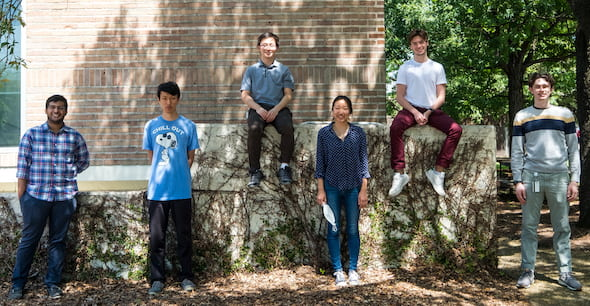 Rice University engineering students are developing a negative-pressure shunt pump to help regulate excess fluid in the brains of patients with hydrocephalus and idiopathic intracranial hypertension. From left: Haafiz Hashim, Bill Wang, Patrick Bi, Irene Kwon, Samuel Brehm and Cooper Lueck. (Credit: Jeff Fitlow/Rice University)