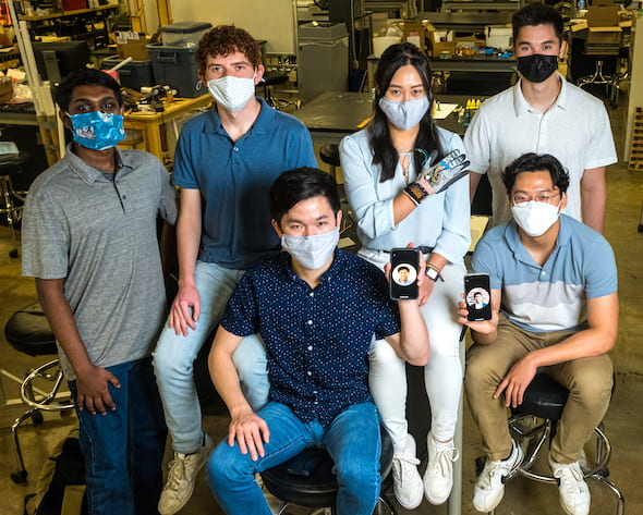 Rice University engineering students are developing a wearable device and app to reward the positive behaviors of people with trichotillomania, the compulsive pulling of hair. Team members, clockwise from top left, are Saideep Narendrula, Zachary Alvear, Linda Liu, Jack Wilson, Joshua Bae and Thomas Zhang. Missing from the photo but present via phone are Fredy Martinez, left, and Anirudh Kuchibhatla. (Credit: Photos by Jeff Fitlow/Rice University)