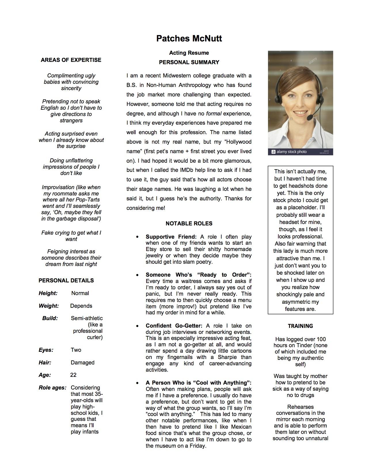My Acting Resume The Sundial Humor Magazine