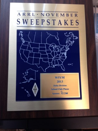 The ARRL November Sweepstakes award plaque won by W5YM for 1st place in the School Club Phone category for Delta Division in 2013.