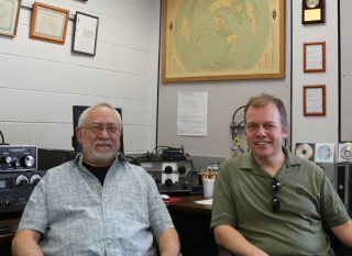 Dan, K5FXB (left) and Kristian, LA1PCA, in the W5YM shack. Kristian was President of ARCUA during the 1990-1991 school year.