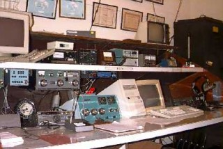 The original W5YM operating console on the 8th floor of SCEN, sometime before 2002.