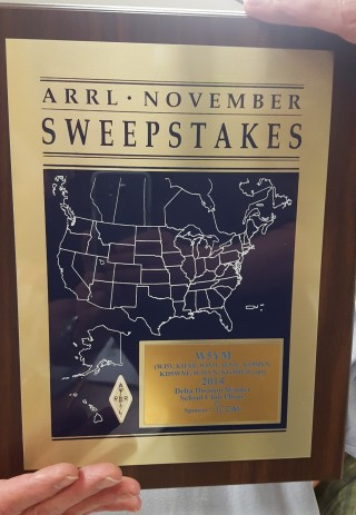 The W5YM ARRL November Sweepstakes plaque for 1st place in Delta Division.