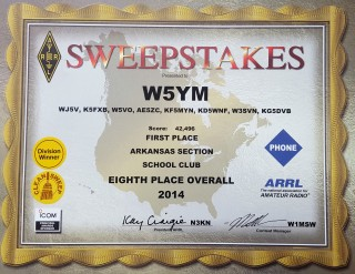 The W5YM ARRL November Sweepstakes 2014 award certificate.