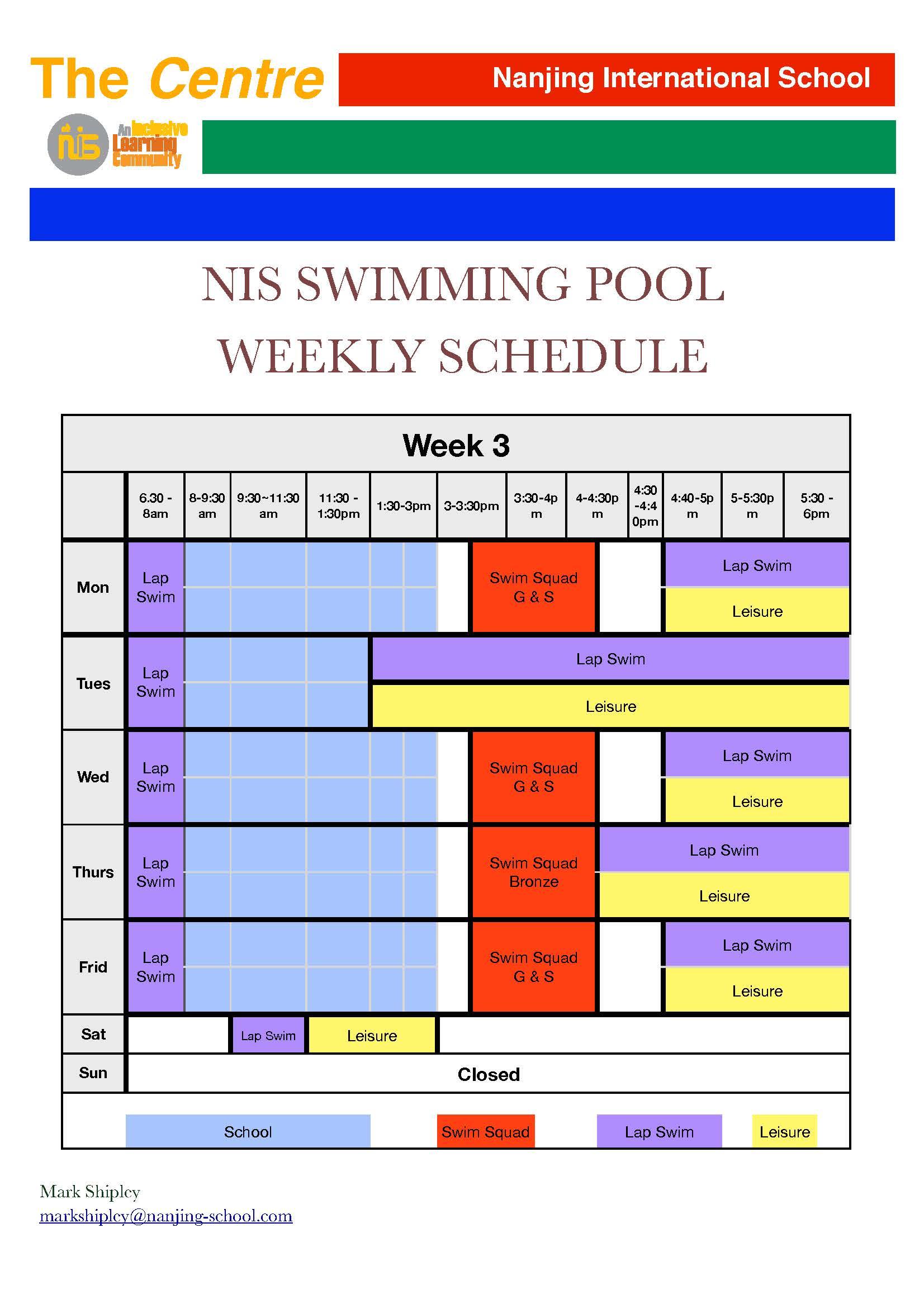 Swimming Pool Weekly Schedule Week 3 Daily Bulletin