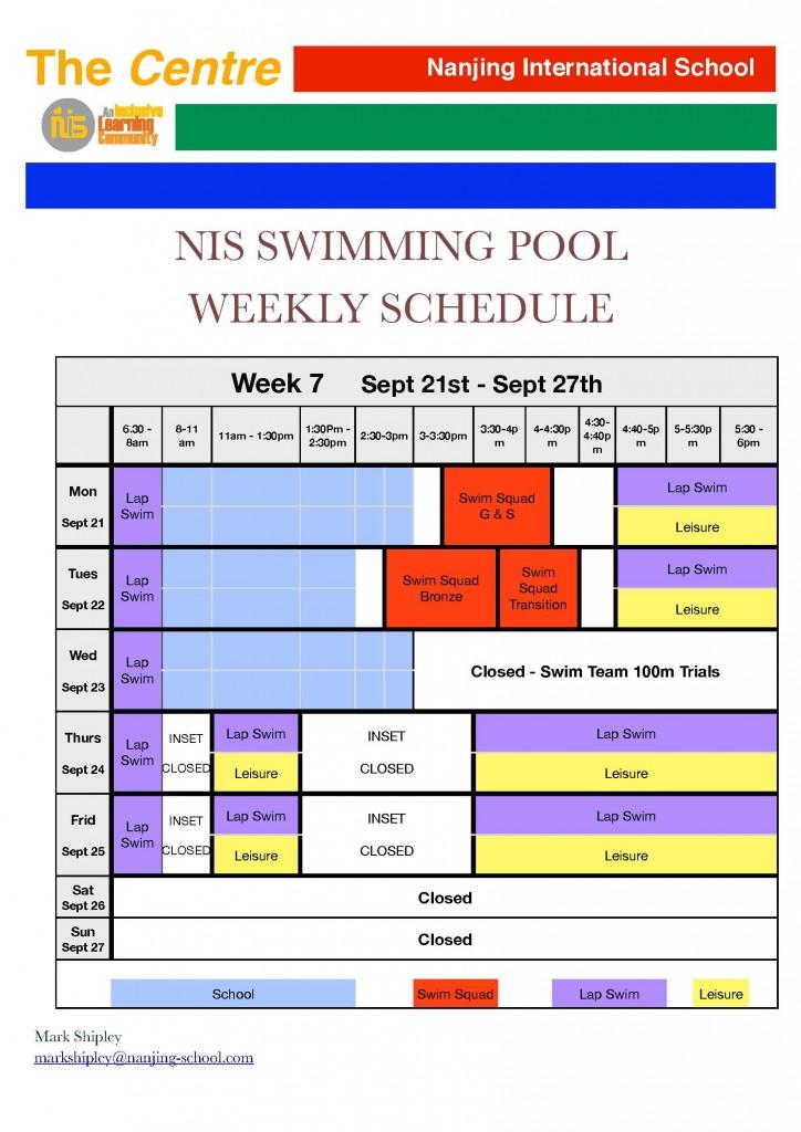 pool weekly schedule - week 7