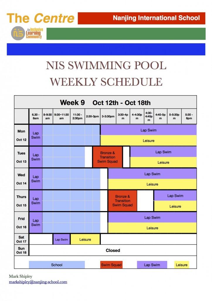pool weekly schedule - Week 9