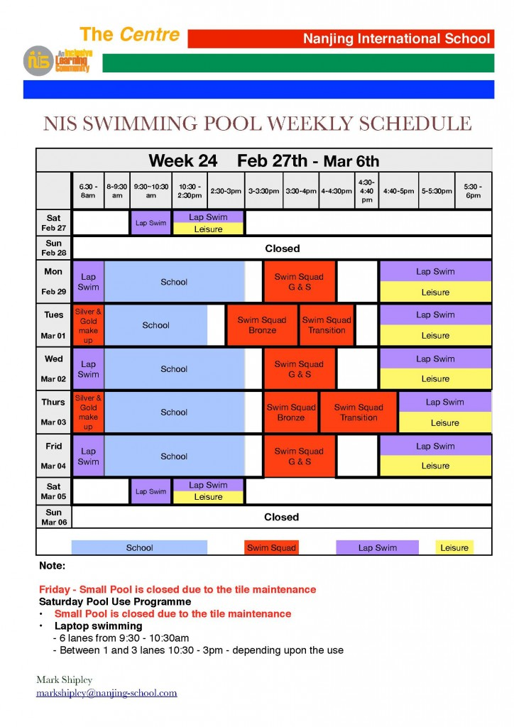 Swimming Pool Weekly Schedule Week 24 Daily Bulletin