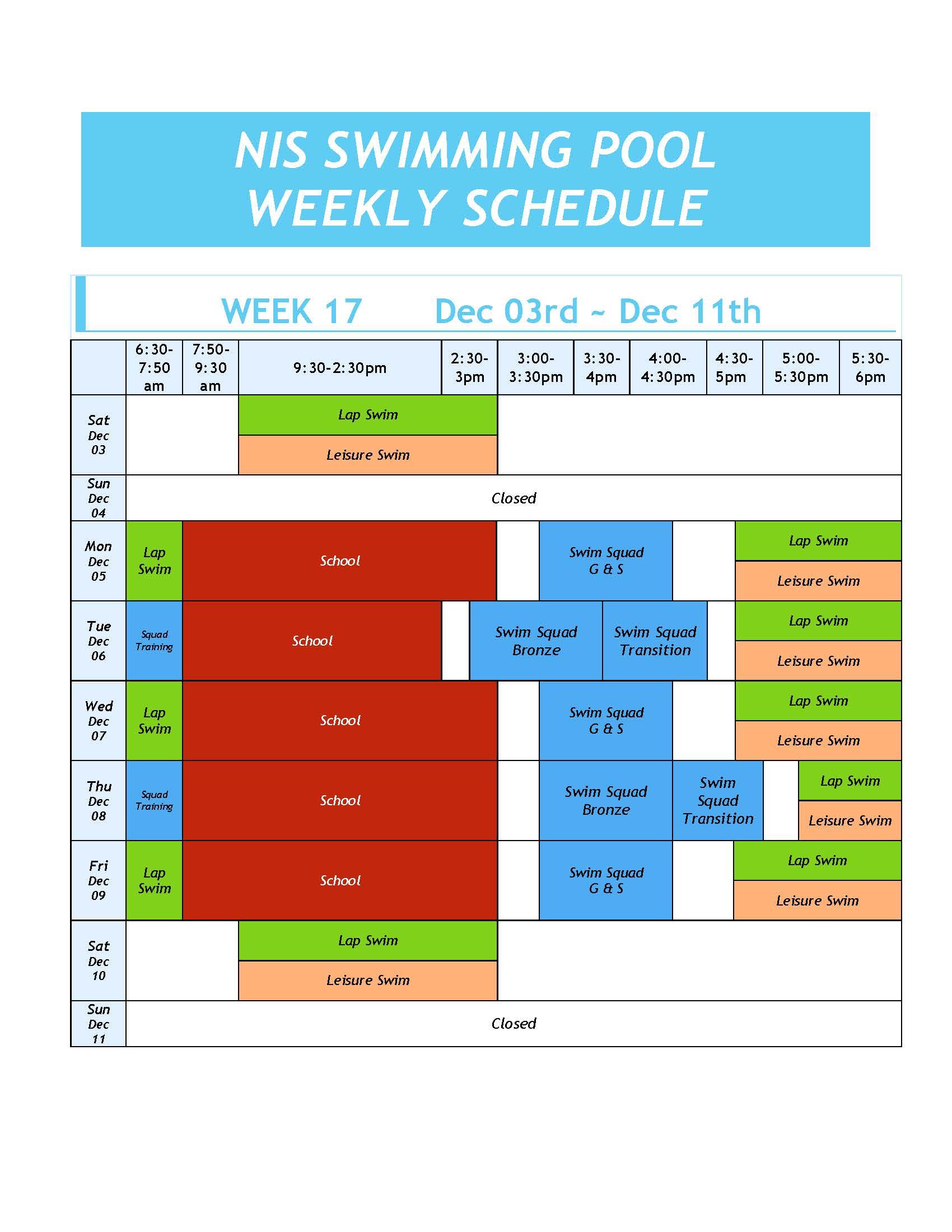 Swimming Pool Weekly Schedule Week 17 Daily Bulletin