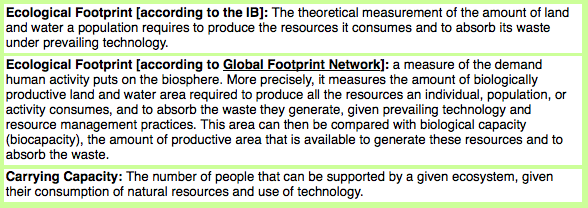 biocapacity and ecological footprint relationship questions