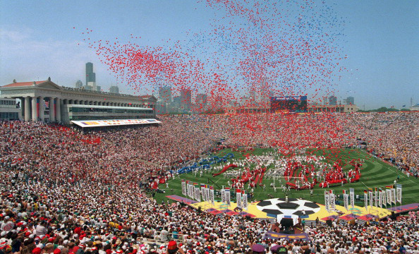 Balloons are released at the start of the opening ceremonies for the 15th World Cup 17 June 1994 at Soldier Field in Chicago. West Germany will face Bolivia in the opening soccer match following the ceremonies. (CHRIS WILKINS/AFP/Getty Images)