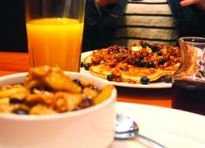 Pictured are Blueberry Granola Pancakes and The Granny's Oatmeal. The Bluebird is located on West Main Street in downtown Stanford.