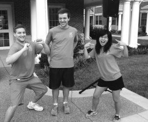 Seniors Ben Ferkin, Chris Elmlinger, and Sandy Zhang play music for Move-In Day 2013