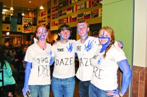 Fans of The Daze dressed up in blue and white to support the band at Centre Encore and Student Activities Council's Battle of the Bands event