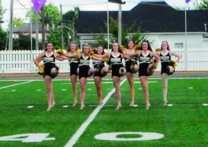 The dance team performs their second routine of the year at halfime of the Centre versus Washington and Lee football game on Sept. 7.