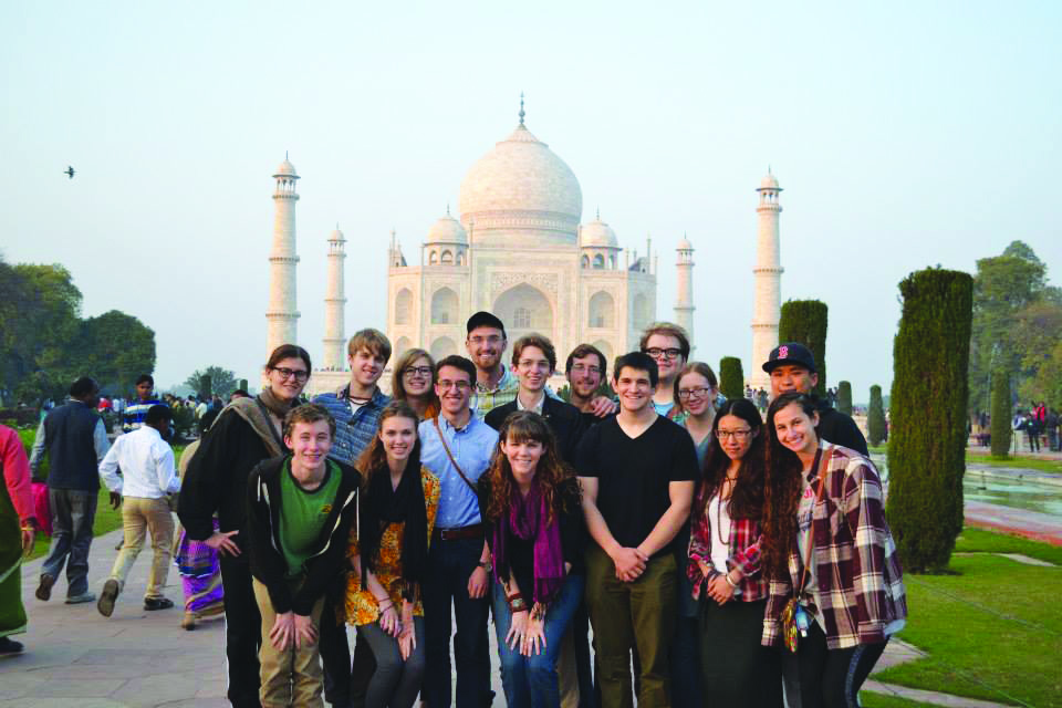 "A group of Centre students in front of the famous Taj Mahal during their ""Life and Death in Varanasi"" CentreTerm class in India."