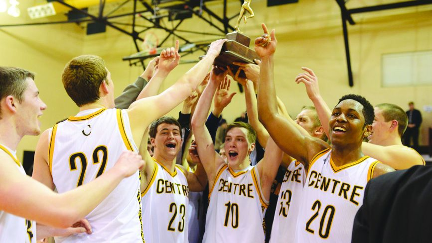 Members of the Centre Men's Basketball team lift up the Southern Athletic Association conference tournament trophy. They will play Lagrange on Thurs., March 6, at 7:00 p.m.